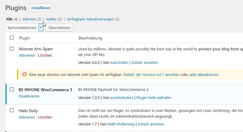 WooCommerce Plugin - Integrations - BS PAYONE docs